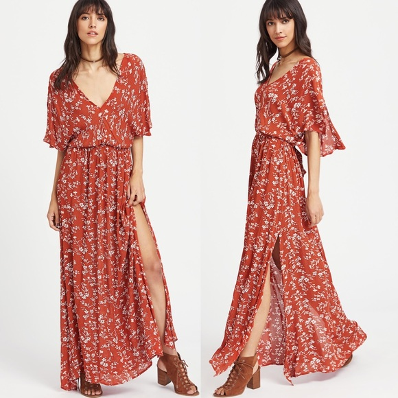 31c9c8ddcf Dark Orange Floral Print Maxi Dress. M_5b2ee621de6f62d08cf0d159